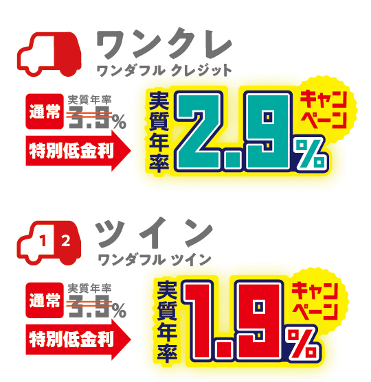 コンパクトカー特別低金利ワンクレ実質年率2.9%ツイン実質年率1.9%